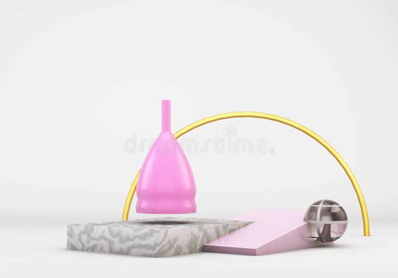 Den rosa menstruations- koppen på primitiva former för bakgrund 3d, kvinnliga intima hygienperiodprodukter framför royaltyfria foton