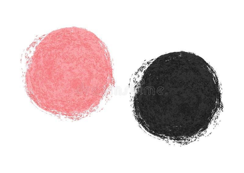 Den rosa och svarta fläcken målade med en borste Isolerade fläckar vektor illustrationer