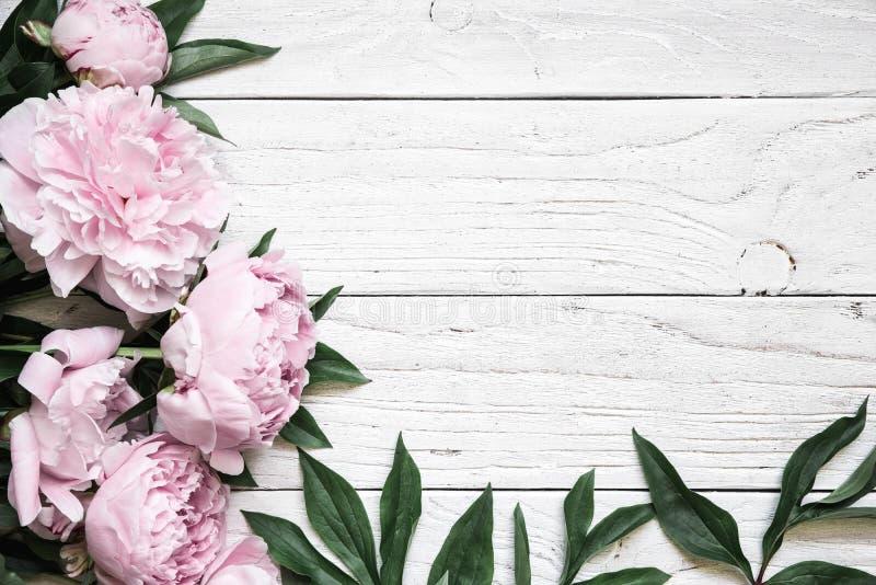 Den rosa pionen blommar över den vita trätabellen med kopieringsutrymme bröllop för romantiskt symbol för inbjudan för bakgrundse royaltyfri fotografi