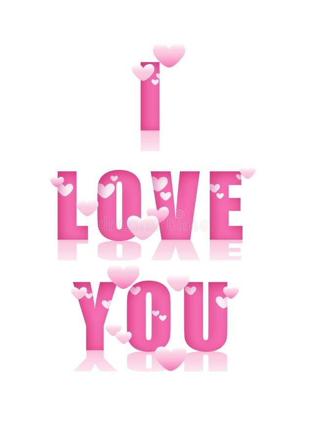 Den rosa romantiker älskar jag dig titeln med hjärtor stock illustrationer