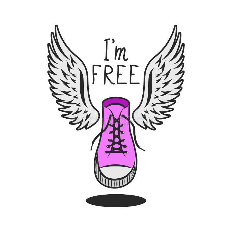 Den rosa skon med vingar och den handskrivna inskriftslogan är jag det grafiska trycket för fri moderiktig ungdom på enskjorta stock illustrationer