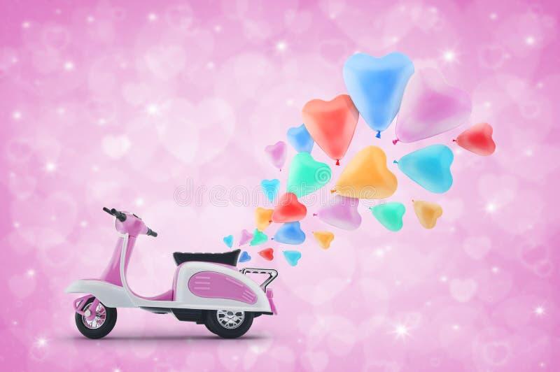 Den rosa sparkcykeln leker med den färgrika hjärtaförälskelseballongen på ljus - rosa färg vektor illustrationer