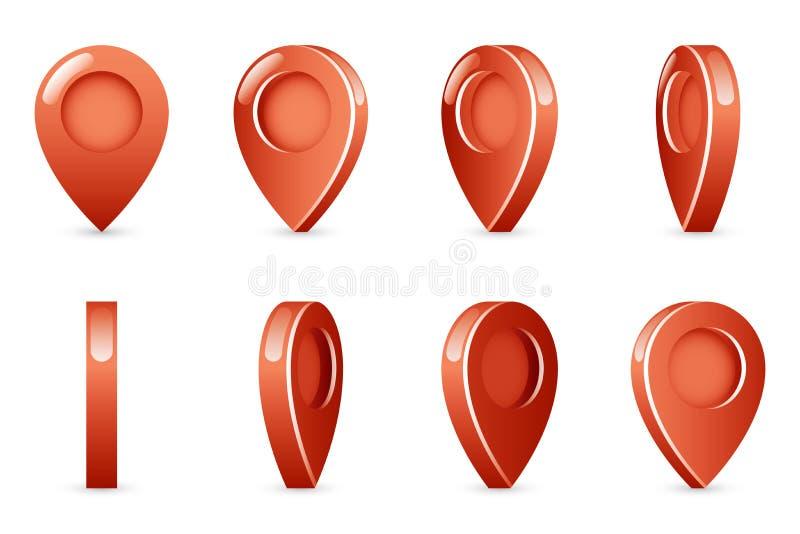 Den roterande animeringen för fläcken för pekaren för gränsmärkeshowplaceöversikten inramar den isolerade fastställda vektorillus stock illustrationer