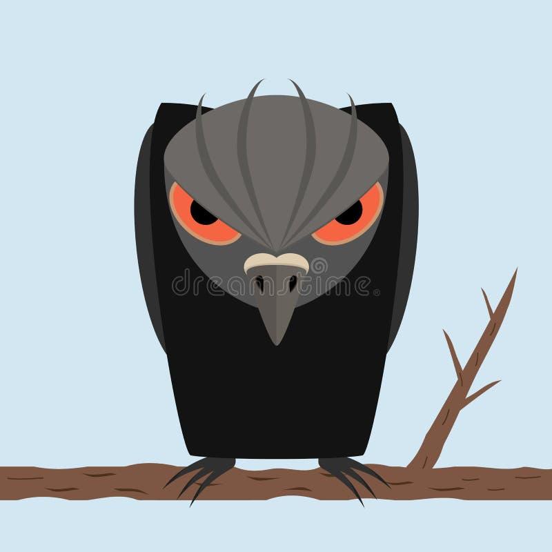Den rov- fågeln som är korpsvart med svart, påskyndar med stora ögon som sitter på en filial på bakgrundshimmel stock illustrationer