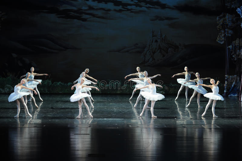 Den rumsrena svanlag-balett svan sjön arkivfoto