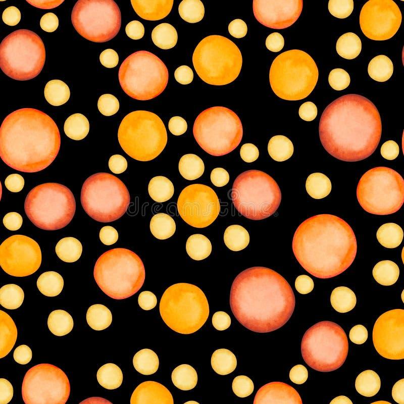 Den runda apelsinen pricker den sömlösa modellen för vattenfärgfläckar arkivbild