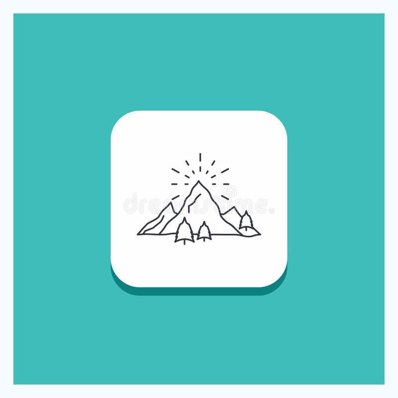 Den runda knappen för kullen, landskapet, naturen, berget, fyrverkerier fodrar symbolsturkosbakgrund vektor illustrationer