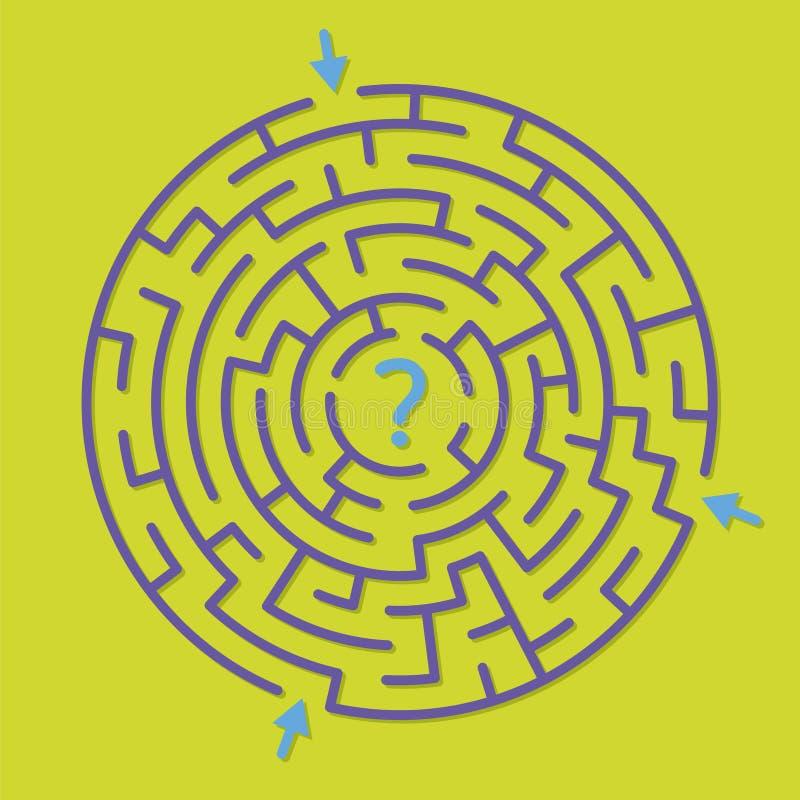 Den runda labyrintlabyrintleken, finner den högra banan royaltyfri illustrationer