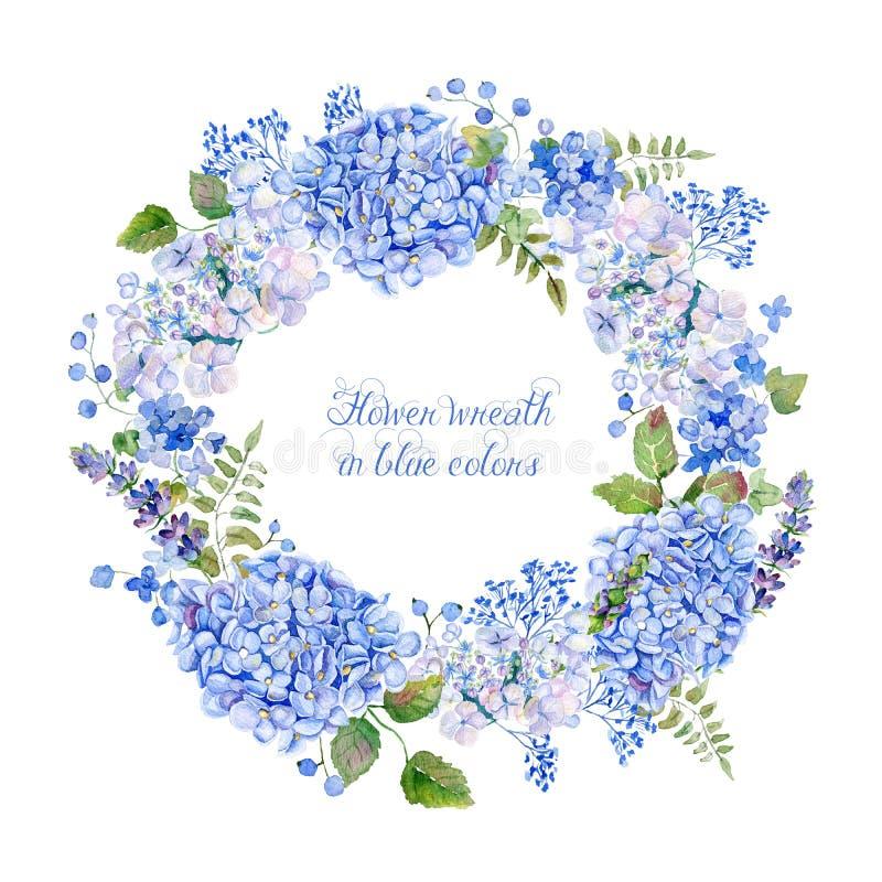 Den runda ramen av den blåa vanliga hortensian och annan blommar arkivbilder