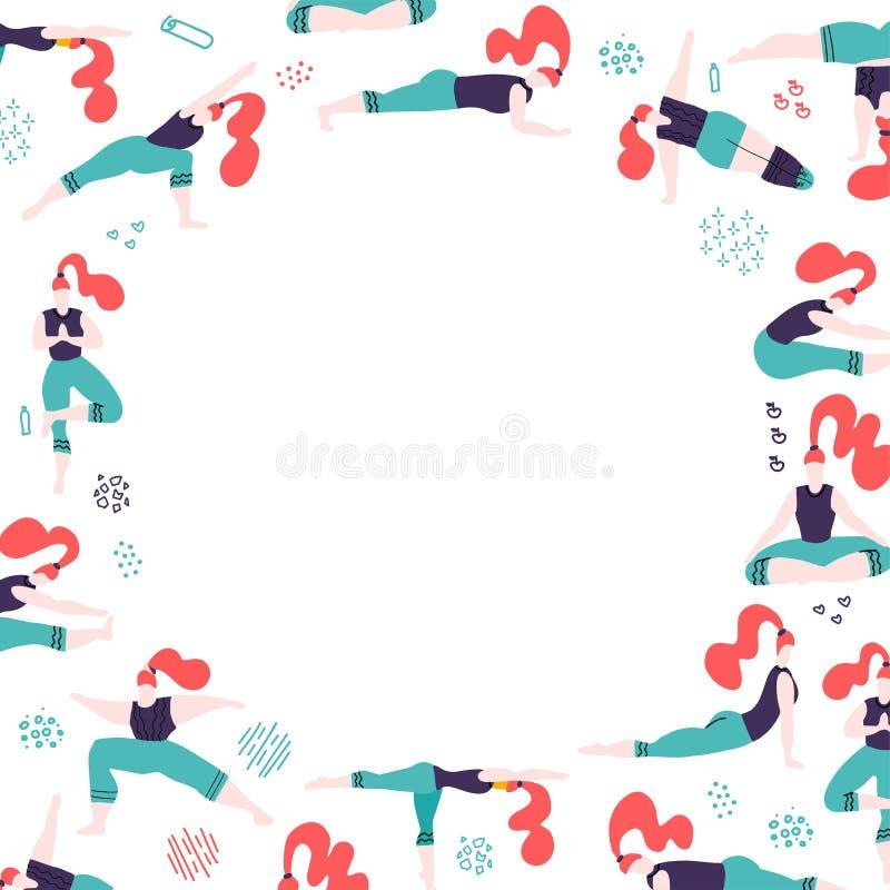 Den runda ramen med f?r f?rgklottret f?r handen utdragna kvinnor i yoga poserar Vitt dreeutrymme f?r text Kvinnligt folk som g?r  stock illustrationer