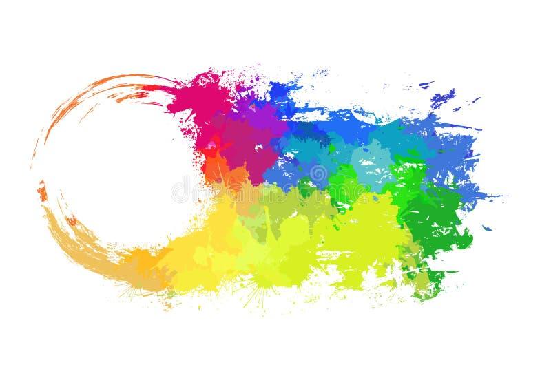Den runda ramen med grungy hasar och regnbågevattenfärgsprejer I stock illustrationer