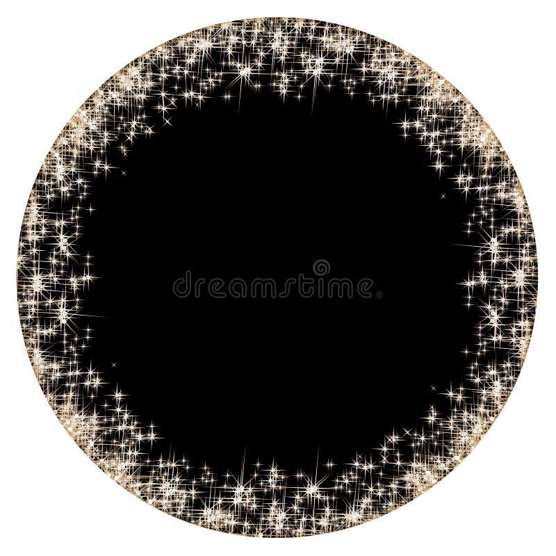 Den runda ramen med guld- stjärnor på den svarta bakgrunden, mousserar guld- symboler - stjärnan blänker, den stjärn- signalljuse vektor illustrationer