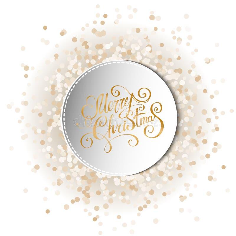Den runda ramen på det festliga cirkuläret blänker guld- konfettibakgrund stil för skugga 3D Elegant märka för jul Eps-8 vektor illustrationer