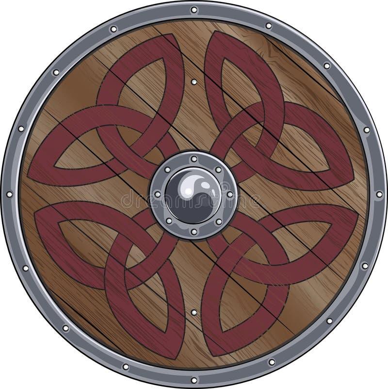 Den runda skölden av Viking dekoreras med scandinavian prydnader royaltyfri illustrationer