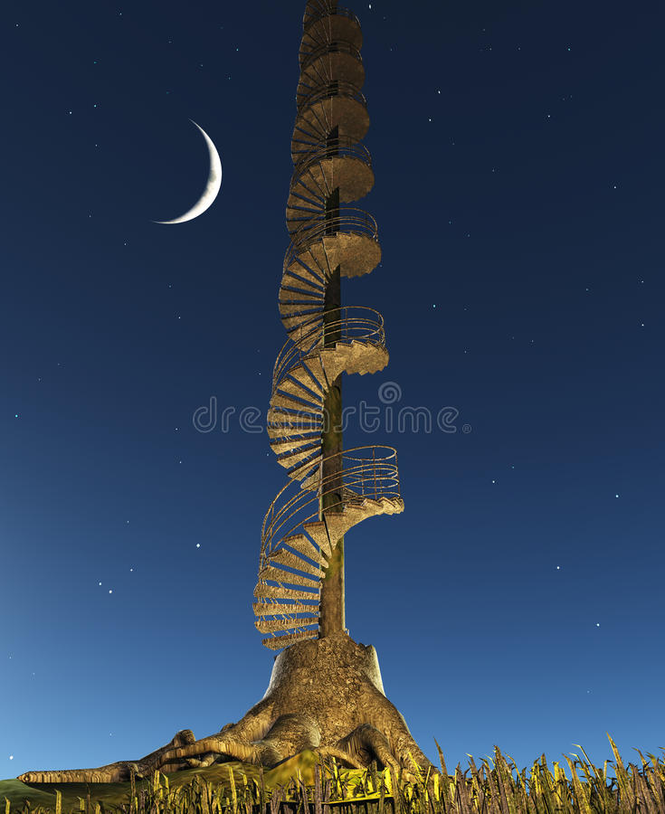 Den runda trappuppgången stiger in i skymninghimmel royaltyfri illustrationer