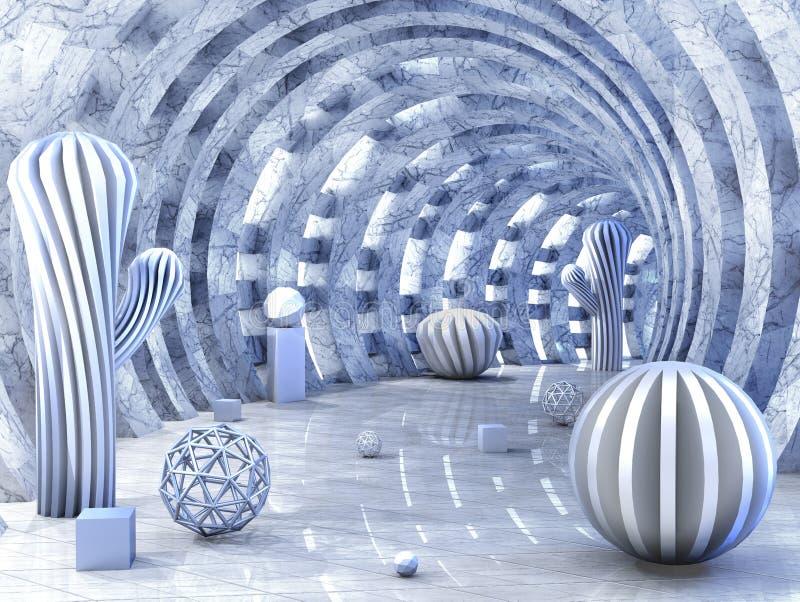 Den runda tunnelen som trängas igenom med ljus med 3D, klumpa ihop sig tolkningen 3d arkivfoto