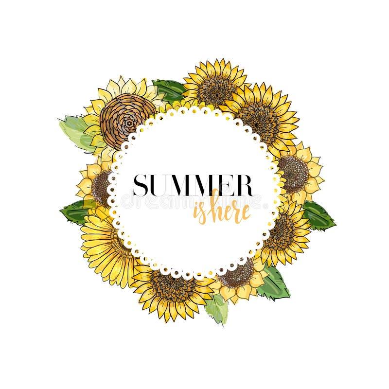 Den runda vita ramen med bokstäver som dekoreras med blommor gerbera och solrosor, skissar illustrationen för färg för vektordiag stock illustrationer