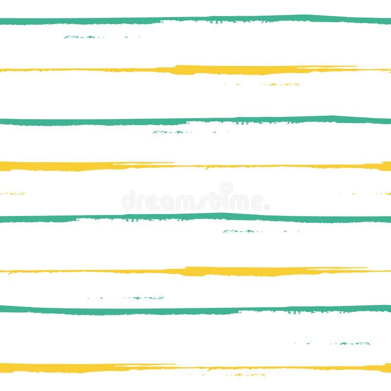 Den rymliga handen målade blått, och gula grungeband planlägger Sömlös geometrisk vektormodell på ny vit bakgrund stock illustrationer