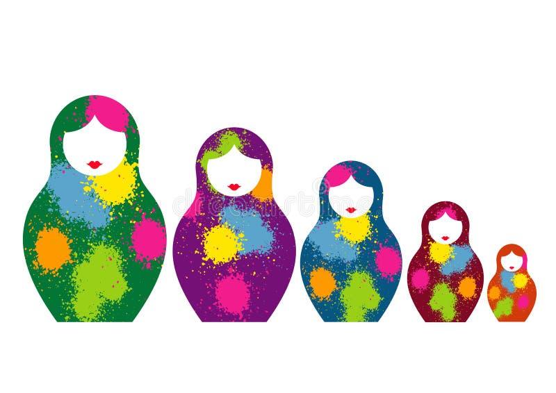 Den ryska bygga bodockamatrioshkaen, ställde in färgrikt symbol för symbol av Ryssland Splatter färgade stil Vektor som isoleras  royaltyfri illustrationer
