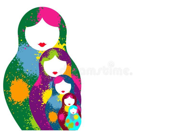 Den ryska bygga bodockamatrioshkaen, ställde in färgrikt symbol för symbol av Ryssland Splatter färgade stil Vektor som isoleras  vektor illustrationer