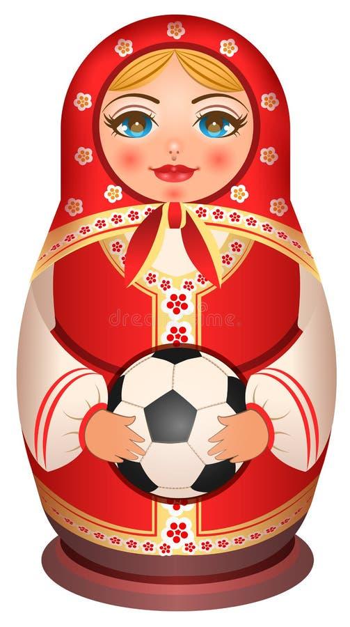 Den ryska bygga bodockan Matryoshka rymmer fotbollbollen royaltyfri illustrationer