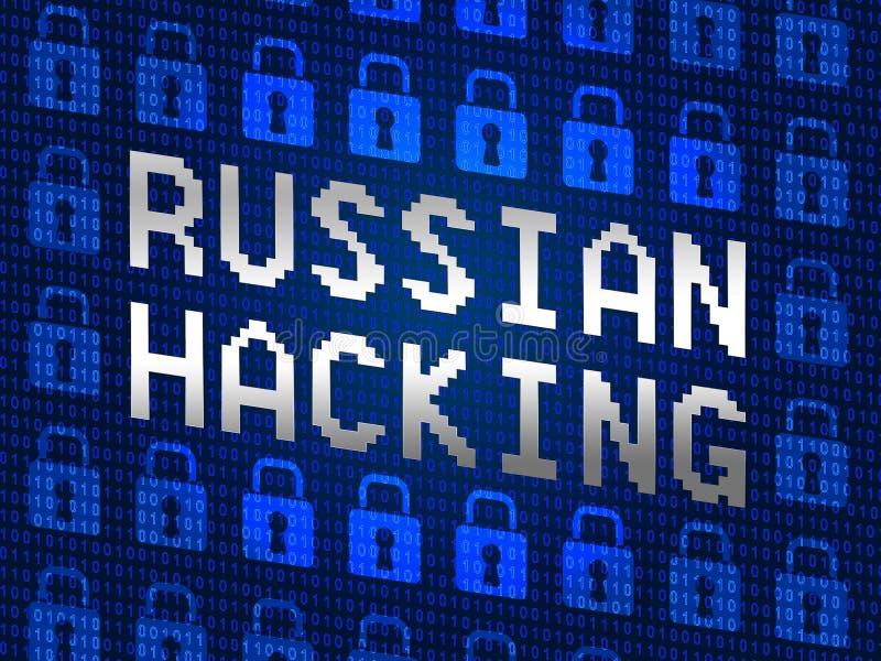 Den ryska dataintrånget låser illustrationen för showvaldata 3d stock illustrationer