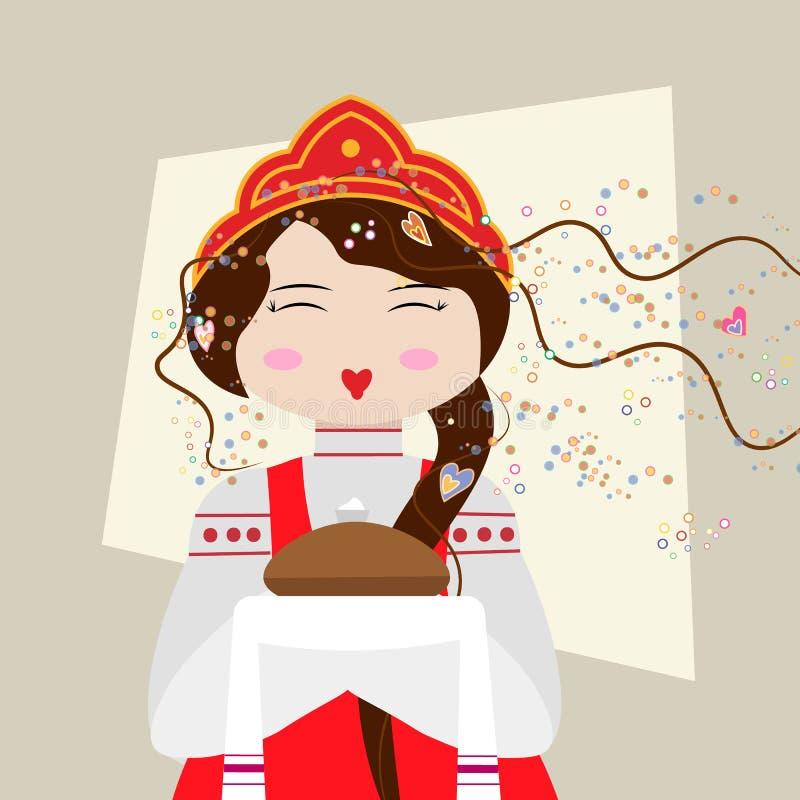 Den ryska flickan i traditionell dräkt med bröd och saltar Slaviska flickavälkomnanden stock illustrationer