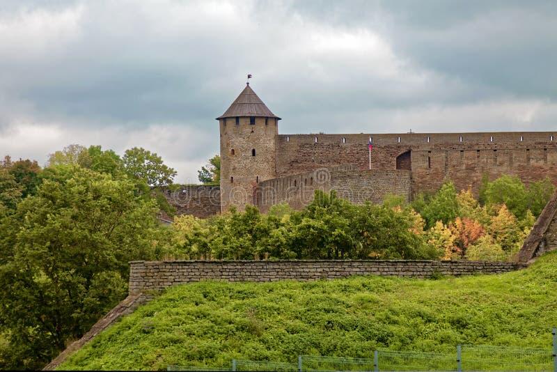 Den ryska mitt åldras fästningen Ivangorod nära St Petersburg royaltyfria bilder