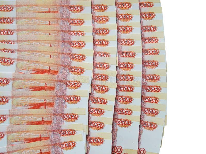 Den ryska monetära sedeln i nominellt värde av 5 000 rubel arkivfoton