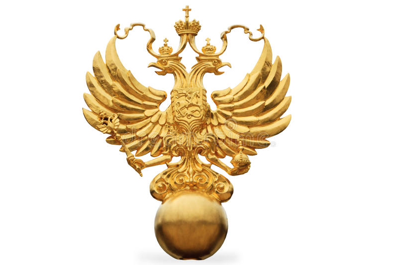 Den ryska statliga emblemen - en dubbel hövdad örn arkivbilder