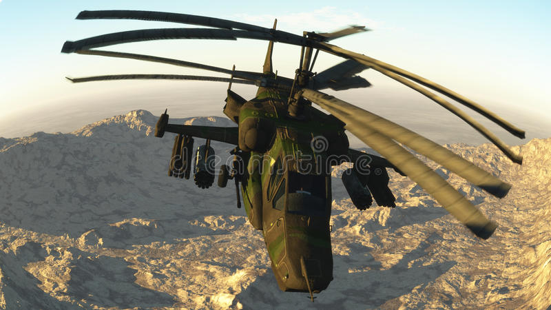 Den ryska stridighethelikoptern royaltyfri illustrationer