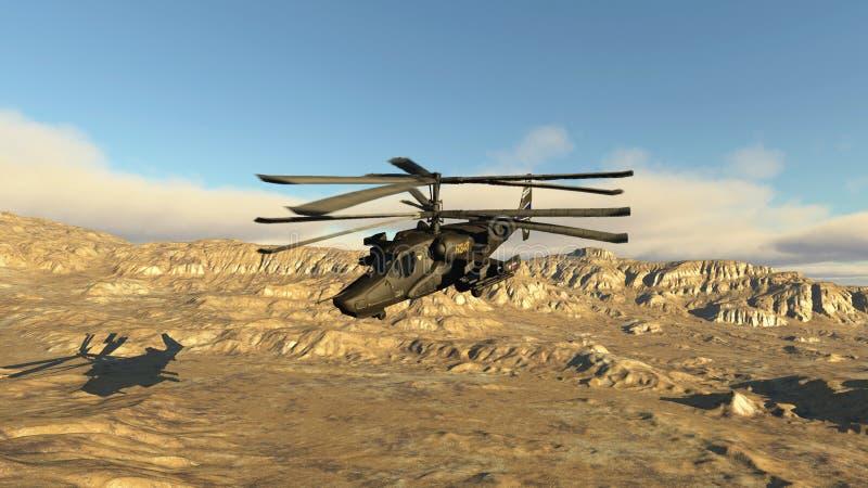 Den ryska stridighethelikoptern stock illustrationer