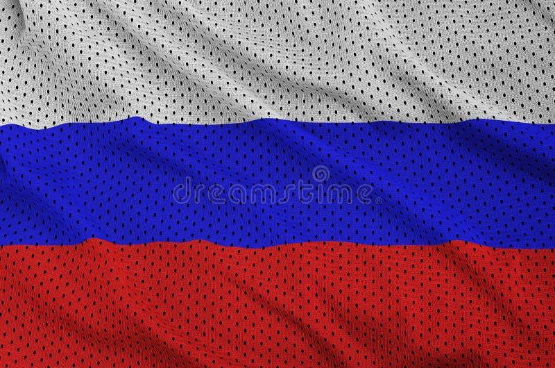 Den Ryssland flaggan skrivev ut på ett tyg för ingrepp för polyesternylonsportswear fotografering för bildbyråer