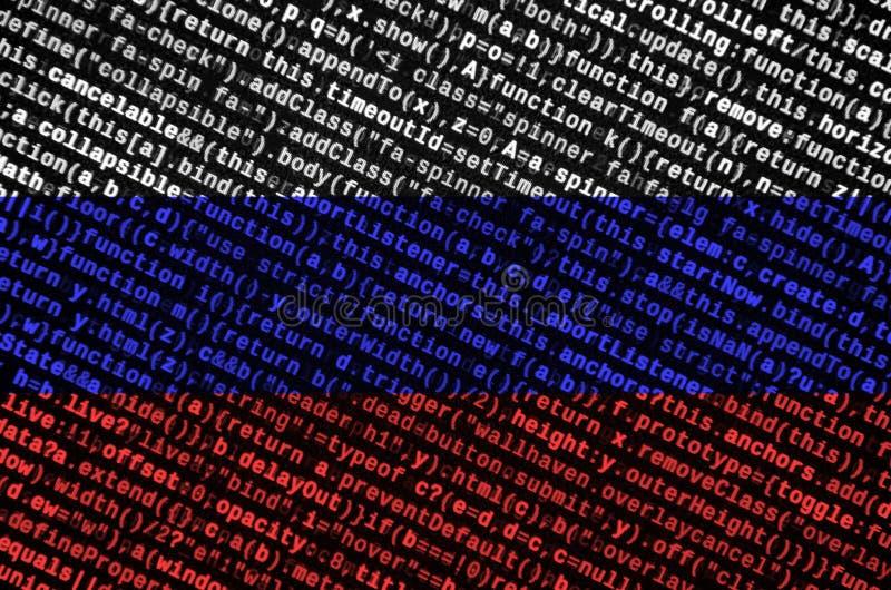 Den Ryssland flaggan visas på skärmen med programkoden Begreppet av modern teknologi- och platsutveckling royaltyfri fotografi