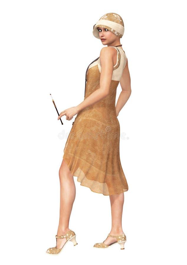 Den rytande dansaren Dress för 20-talkvinnaklaff vektor illustrationer