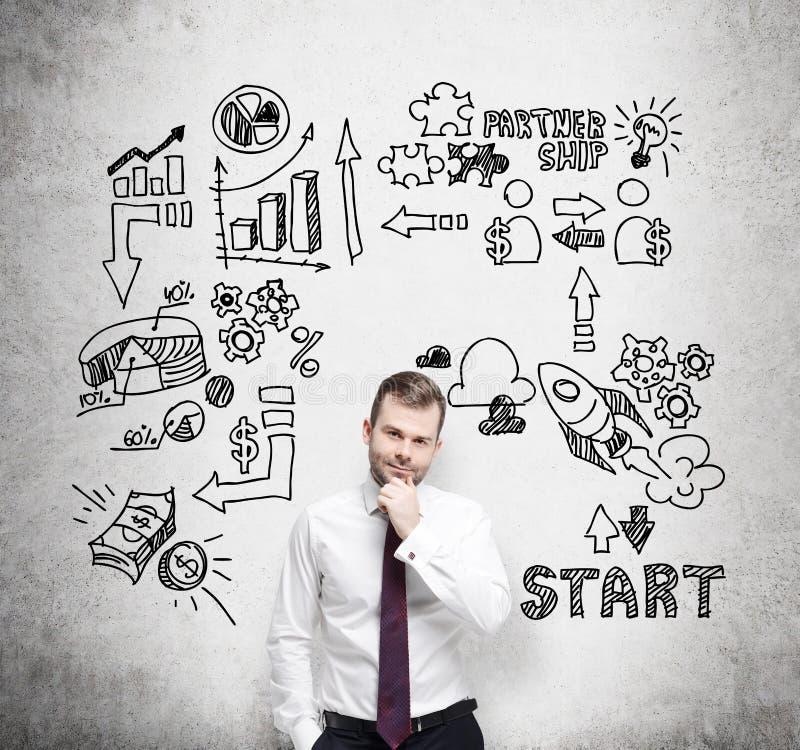 Den säkra affärsmannen tänker om affärstillfällen Ett begrepp av kläckningen av ideer arkivbild