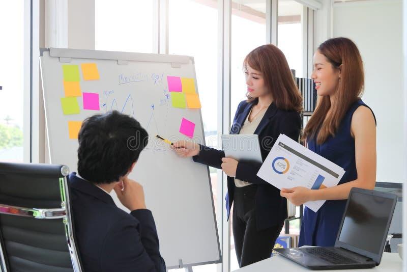 Den säkra unga asiatiska affärskvinnan som förklarar strategier bläddrar på, diagrammet till ledaren i styrelse fotografering för bildbyråer