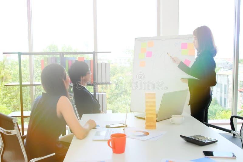 Den säkra unga asiatiska affärskvinnan som förklarar strategier bläddrar på, diagrammet till ledaren i styrelse med solskeneffekt arkivbilder