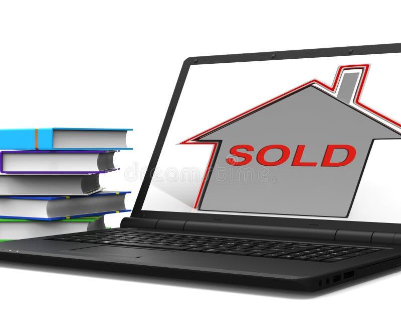 Den sålda husbärbara datorn visar Sale och köpet av egenskapen stock illustrationer