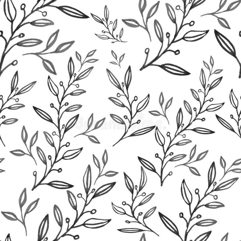 Den sömlösa abstrakta blom- modellen, utdragen illustration för hand kan användas för textilutskrift eller bakgrund, tapeten vektor illustrationer