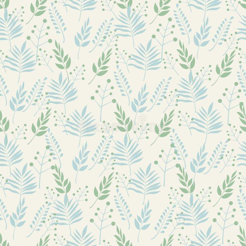 Den sömlösa bakgrundsmodellen av sidor och förgrena sig sidor i pastellfärgade skuggor av gräsplan och blått på en beige bakgrund royaltyfri illustrationer