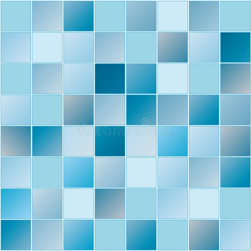 Den sömlösa blåtttegelplattamodellen med fyrkanten formar för modern bakgrund stock illustrationer