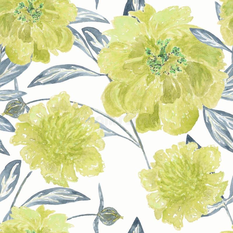 Den sömlösa blom- modellen, den gula vattenfärgen blommar på vit bakgrund stock illustrationer