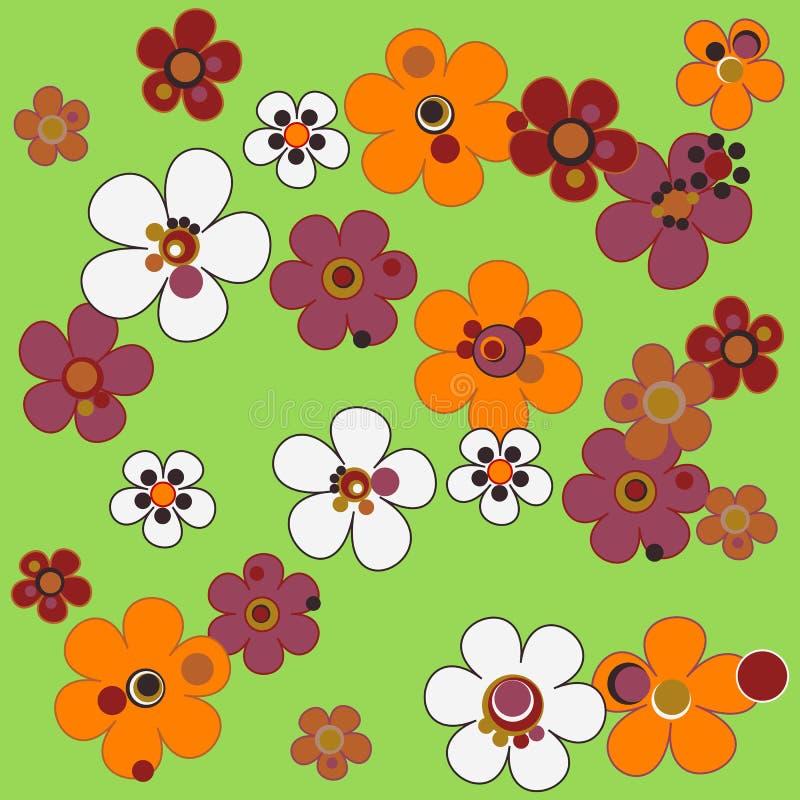 Den sömlösa blom- modellen i terrakotta tonar på grön bakgrund vektor illustrationer