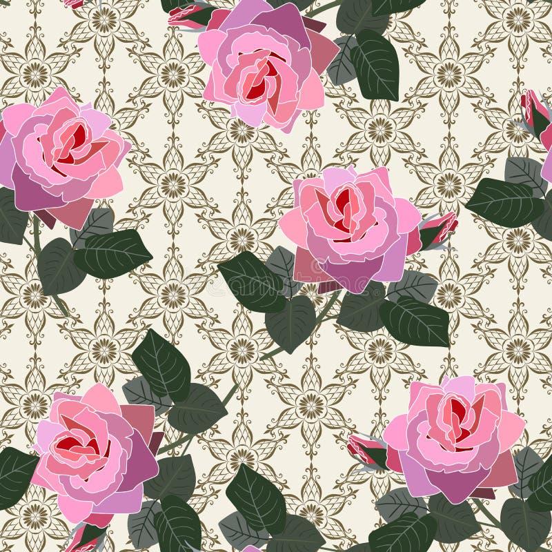 Den sömlösa blom- modellen med rosa rosa blommor snör åt på bakgrund i vektor vektor illustrationer
