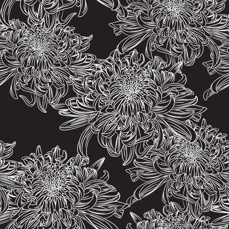 Den sömlösa blom- modellen med svarta vita krysantemum blommar också vektor för coreldrawillustration stock illustrationer