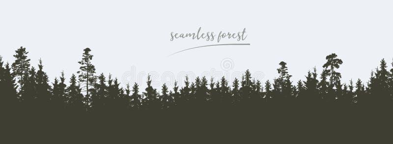 Den sömlösa breda gröna konturn av trädet och skogen når en höjdpunkt, isolat vektor illustrationer