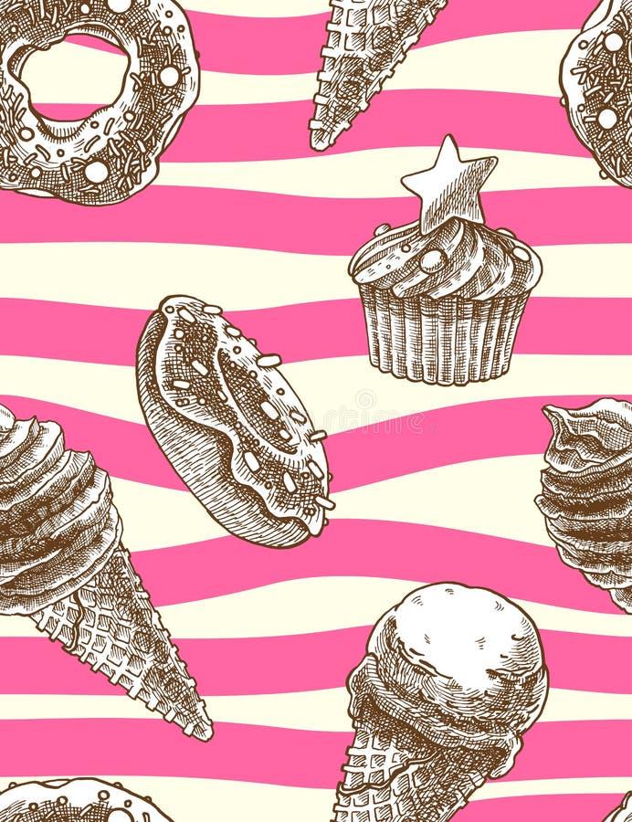 Den sömlösa dekorativa modellen med glasskottar, muffin och donuts i den drog handen utformar stock illustrationer