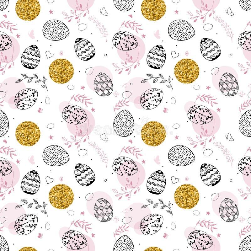 Den sömlösa easter modellen med guld blänker prickar, dekorativa drog ägg för den svarta handen, sidor, fjärilar på vit stock illustrationer