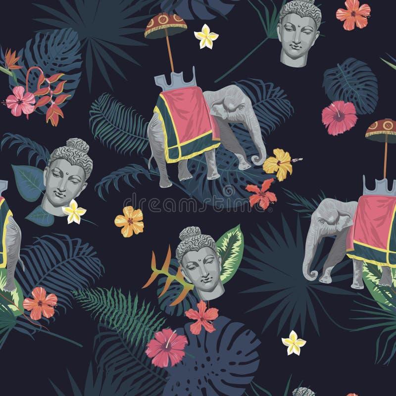 Den sömlösa exotiska stilvektormodellen med Buddhahuvudet, elefanten, blommor, sidor, befjädrar royaltyfri illustrationer